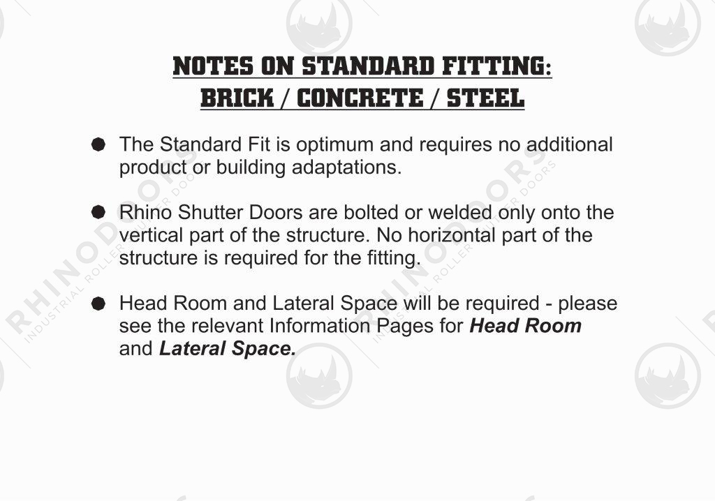 Rhino Shutter Doors - Notes on Standard Fitting Brick/Concrete/Steel