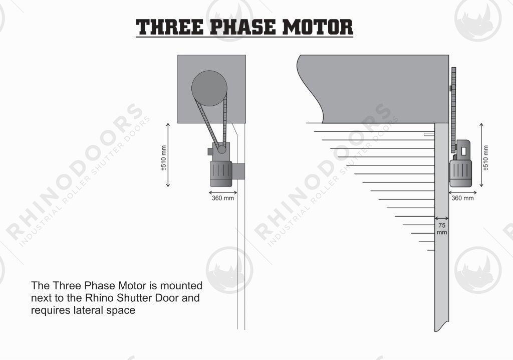 Lateral Space - Three Phase Motor Illustration