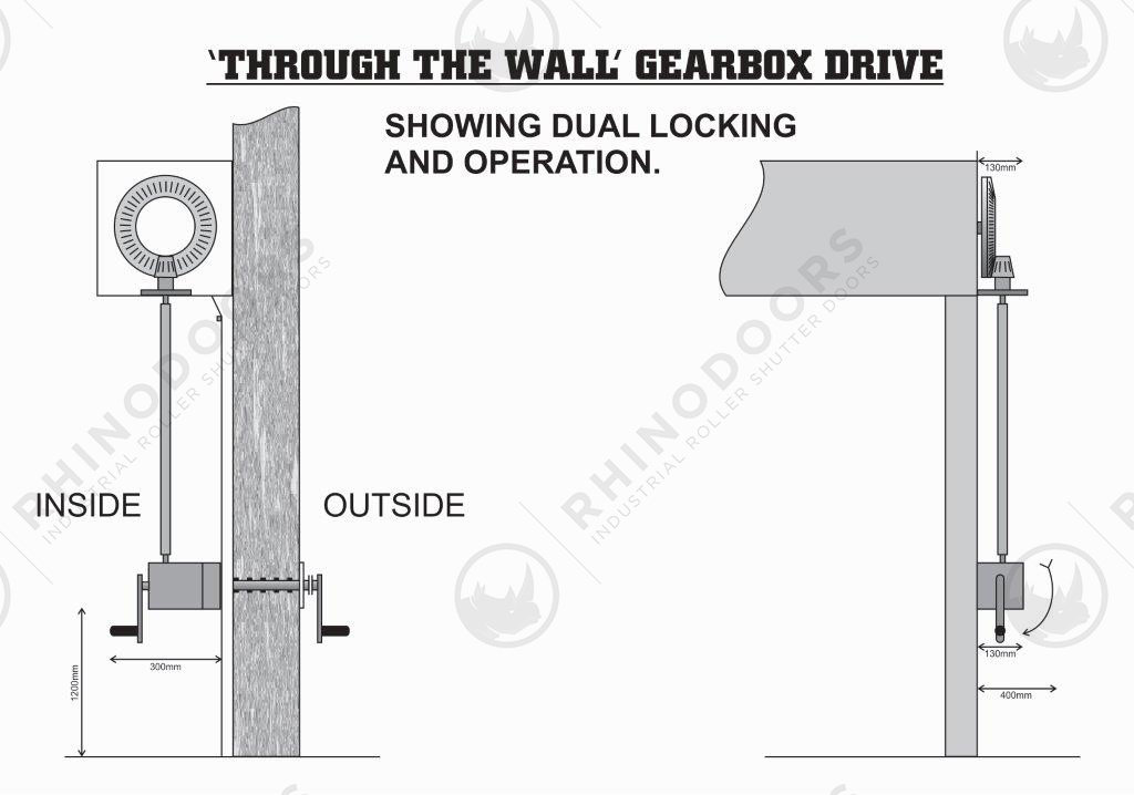 "Lateral Space - ""Through The Wall' Gearbox Drive Illustration"